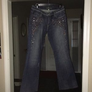 Bebe Jeans with brown stones on upper legs